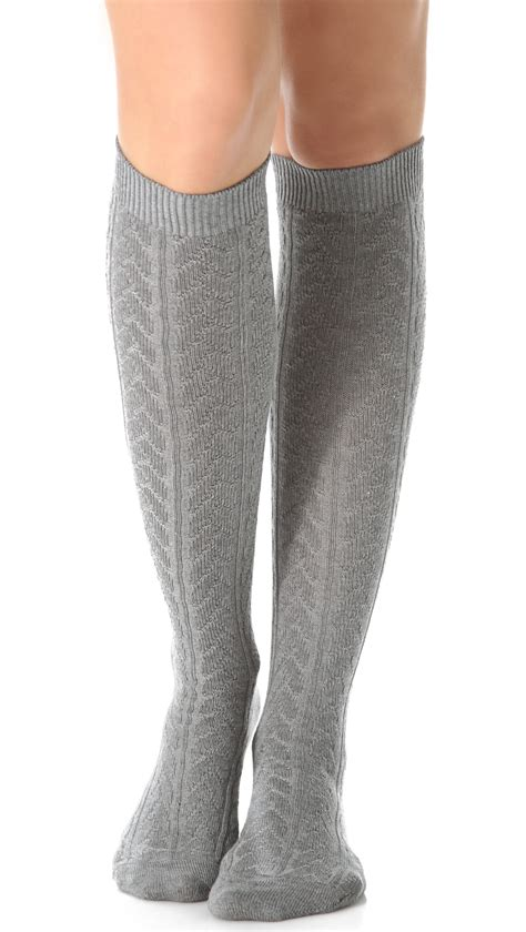 knit knee high socks falke striggings cable knit knee high socks grey in gray