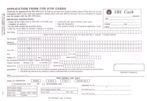 Credit Card Form Of Sbi Debit Card Application Form