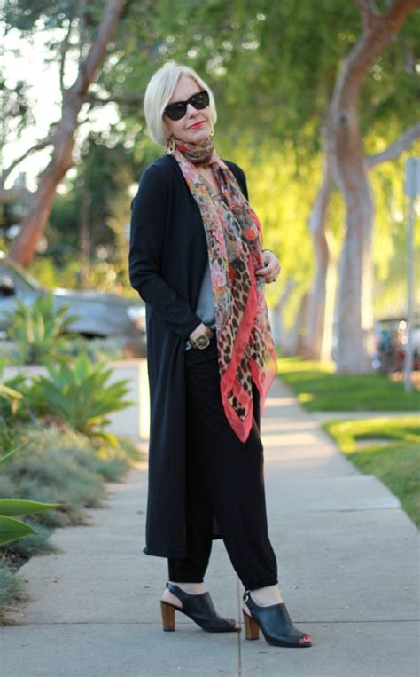 chic looks for 52 year old styling slouchy pants