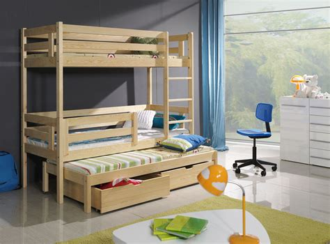 3 Sleeper Bunk Beds With Storage by New Bunk Bed Wooden Bunk Bed Bert With Mattresses