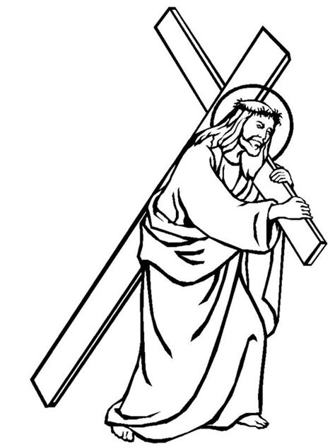 coloring pages jesus on the cross cross free colouring pages