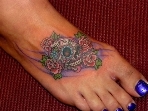 small rose foot tattoos sugar skull sugar skull tattoos