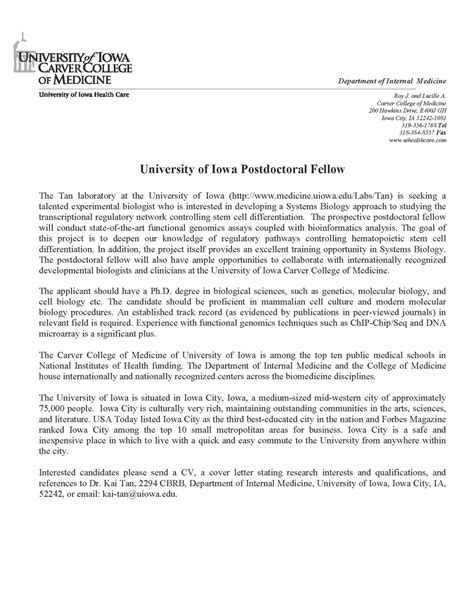 cover letter postdoc - Postdoctoral Cover Letter