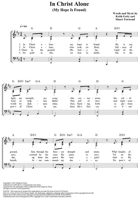 free printable sheet music for in christ alone in christ alone my hope is found sheet music for piano