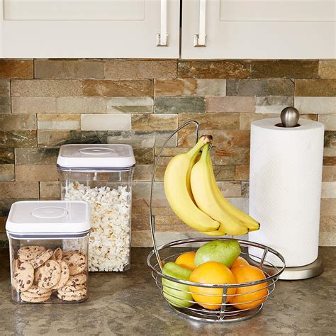 countertop width chrome banana holder bowl the container store