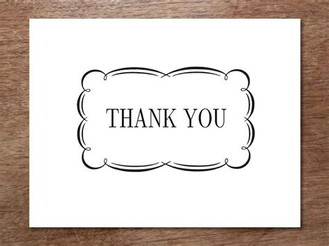 7 best images of black and white thank you cards printable
