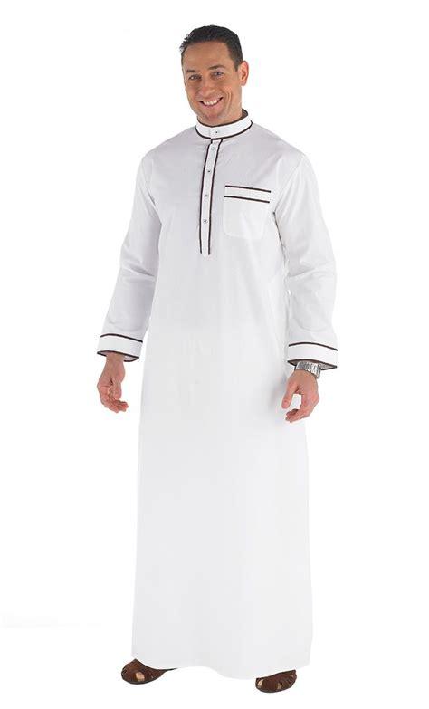 islamic clothing for men long men s jubba dish dasha contrast brown piping side