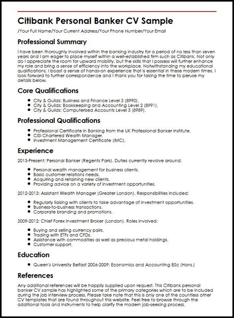 Bank Resume Samples Teller No Experience by Citibank Personal Banker Cv Sample Myperfectcv