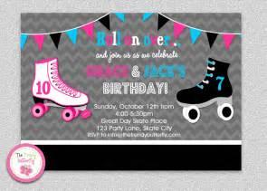 siblings roller skating birthday invitation boys roller