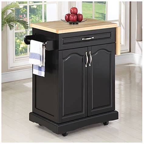 small black finish kitchen cart with drop leaf big lots
