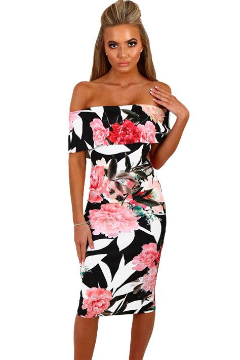 Midi Dress Gaun Bodycon Blue Two Pcs Xl 192303 Import Sale black multi floral bardot bodycon midi dress