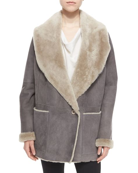 shearling drape jacket vince draped shearling jacket in gray lyst