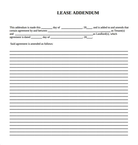 15 Lease Addendum Forms To Download For Free Sle Templates Free Addendum Sticker Template