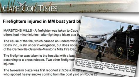 cape cod times cape cod boatyard blaze injures firefighters new