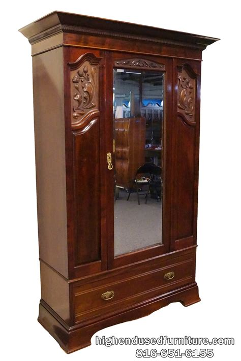 mirror armoire wardrobe large antique carved mahogany 54 beveled mirror armoire