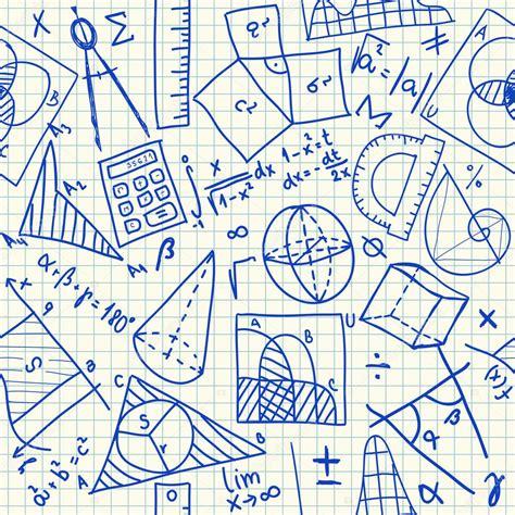 doodle math mathematical doodles seamless pattern stock vector
