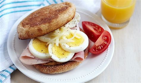 r eggs carbohydrates microwave egg ham muffin egg