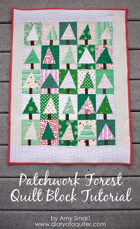 Patchwork Coverlet - patchwork tree quilt block tutorial diary of a quilter
