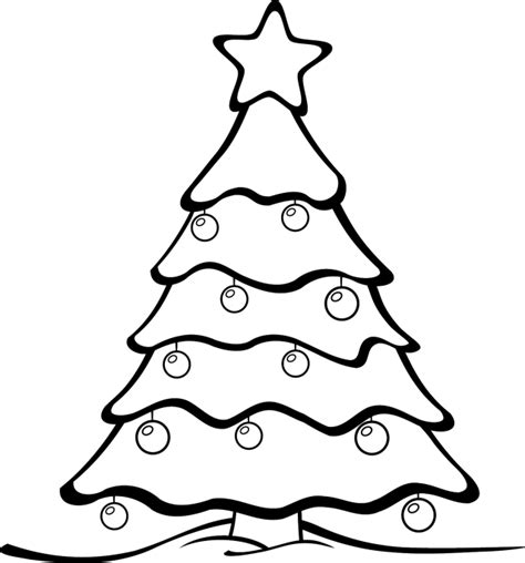 best christmas tree clipart black and white 14631