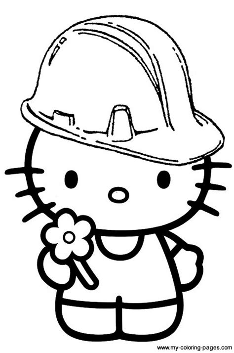 hard hello kitty coloring pages construction hello kitty hard hat party construction