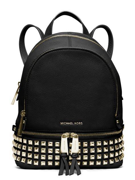 Michael Kors Rhea Backpack Mini 2 michael michael kors rhea mini studded leather backpack in black lyst