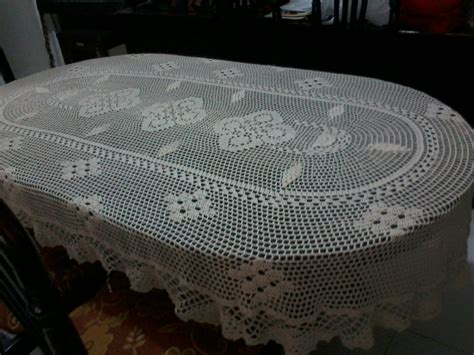 Taplak Meja Rajut 03 Crochet Sun jual taplak meja makan rajut meja makan oval 6 kursi