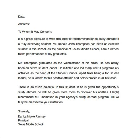 Motivation Letter Exle To Study Abroad Reference Letter For Study Abroad Cover Letter Templates