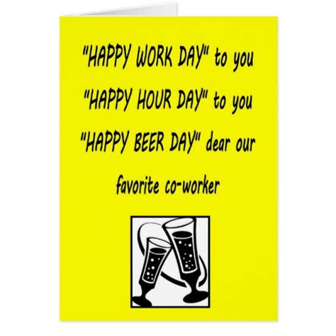 Co Worker Birthday Card Co Worker Birthday Happy Beerday Greeting Card Zazzle