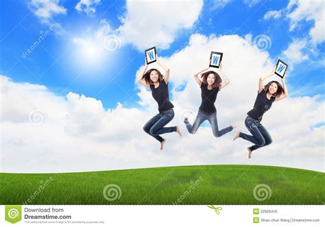jump on computer happy jump show tablet pc with sky stock photo