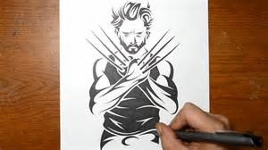 drawing wolverine in a tribal tattoo design style youtube