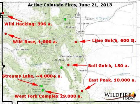 map of colorado wildfires map of active fires in colorado june 21 2013 wildfire