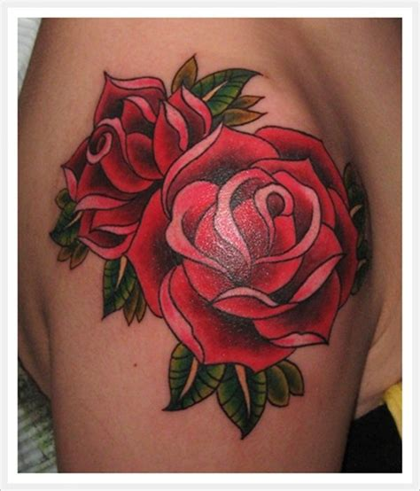 what goes good with rose tattoos school traditional roses bright bold and