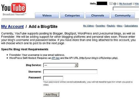 blogger x youtube how to link your blog or website to youtube