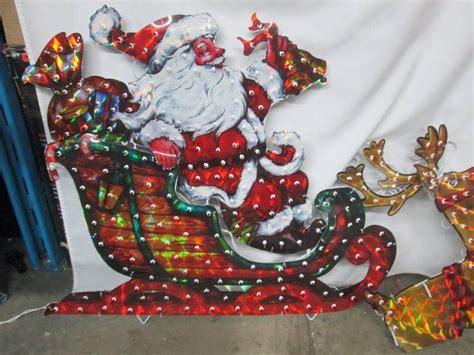 alcove santa with reindeer alcove lighted holographic santa sleigh january store returns 8 k bid