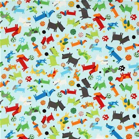 puppy fabric tela azul claro de perritos y pelotas por robert kaufman telas con animales
