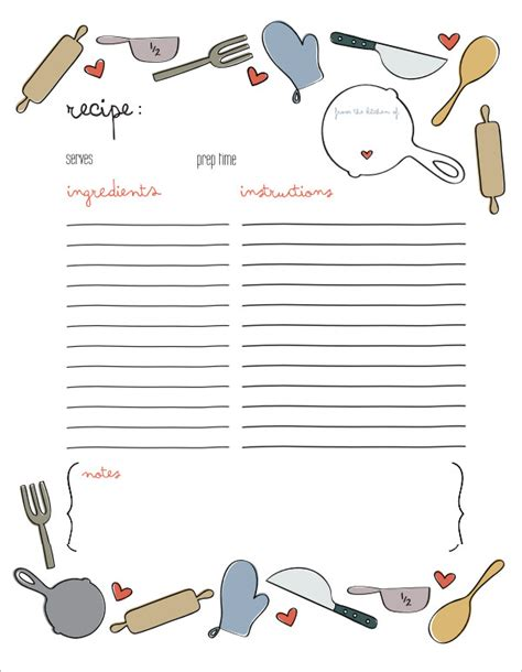 7 Recipe Card Templates Sle Templates Recipe Card Template