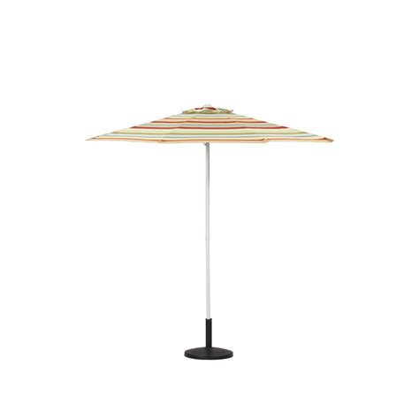 Patio Umbrella Lowes Shop Garden Treasures 7 Ft 7 In Striped Market Umbrella At Lowes
