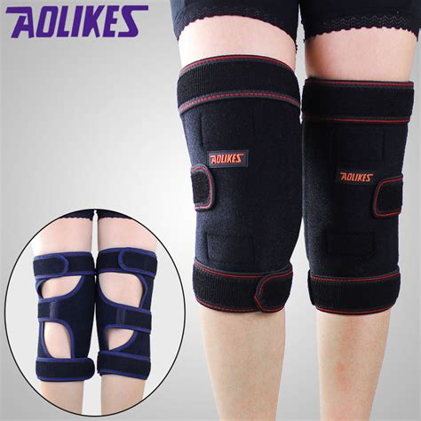 Sport Warm Knee Pads Pelindung Lutut aolikes knee pads with removable warm plush pad knee support bandage compression joint brace
