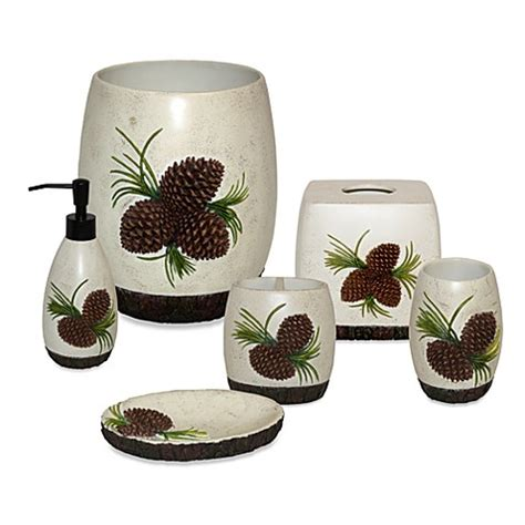 pine cone bathroom accessories pine cone branch bath accessories set bed bath beyond