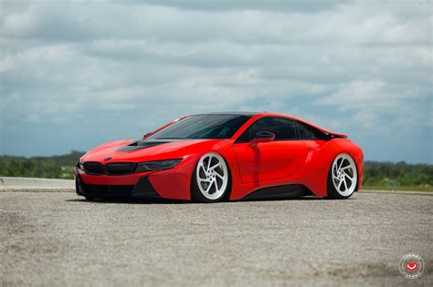 bmw i8 slammed shark bmw i8 on air bags and vossen forged wheels
