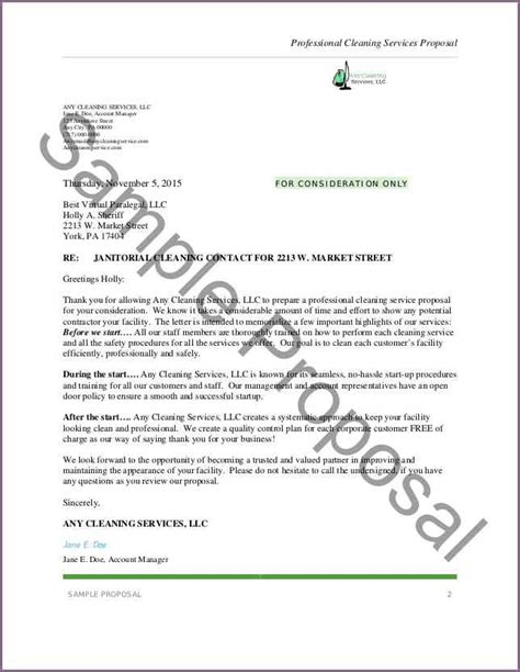 Letter For Cleaning Services Sle Cleaning Letter Proposalsleletter