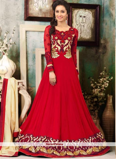buy shraddha kapoor style red georgette anarkali suit