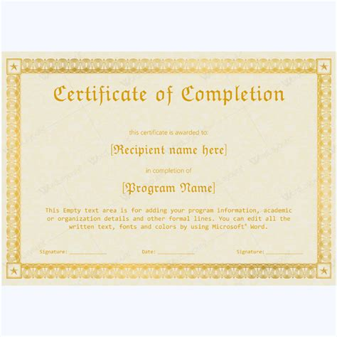 word template certificate of completion 89 award certificates for business and school events