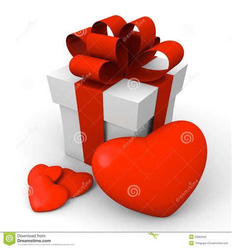 s day gift box with hearts stock photo