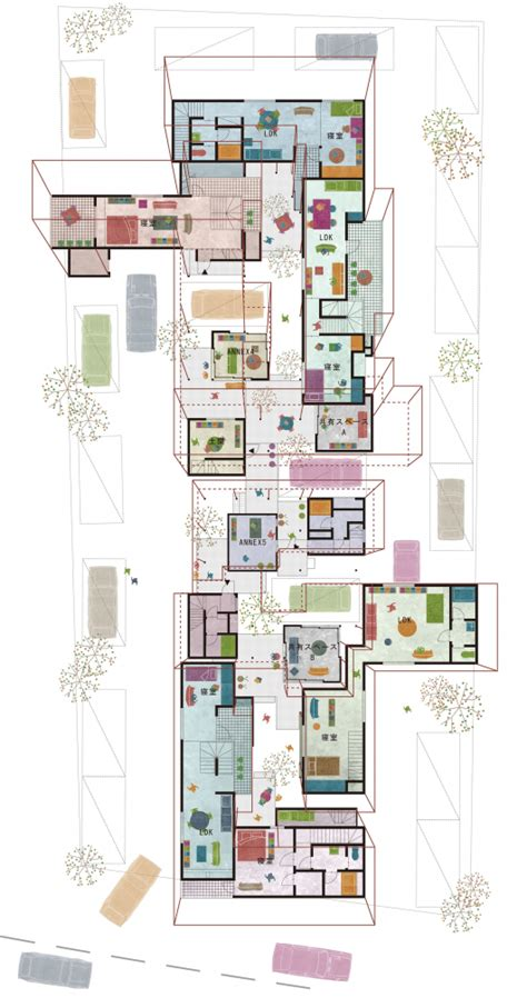 house perspective with floor plan dragon court village eureka archdaily