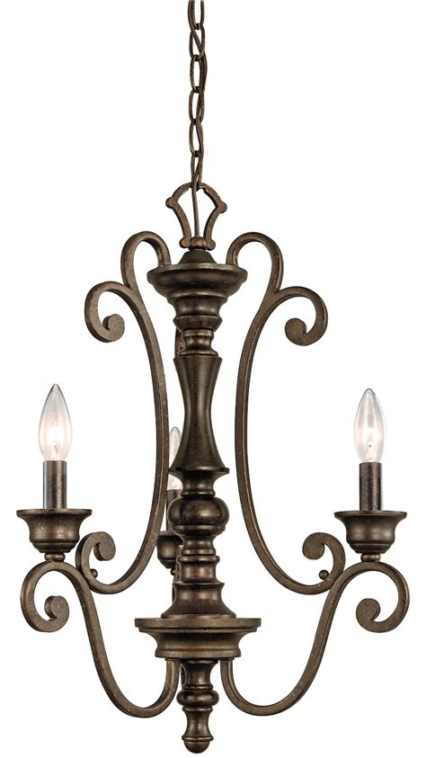 Chandelier Single Kichler Terrene Bronze Mithras Single Tier Candle Style Chandelier With 3 Lights Terrene Bronze