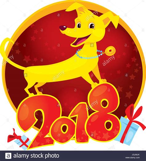 new year zodiac 2018 yellow is the zodiac symbol of the new year
