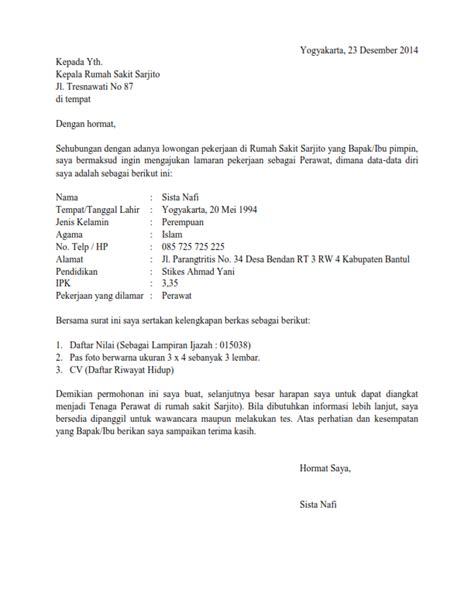 surat lamaran kerja perawat ben