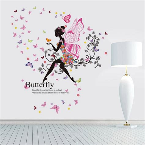Wall Stickers Beautiful Fairies Interior Home Wall Flowers Wall Sticker Beautiful Wing Moon Butterfly