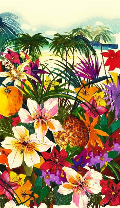 printable tropical flowers this dreamy tropical print makes us want to pack our bags